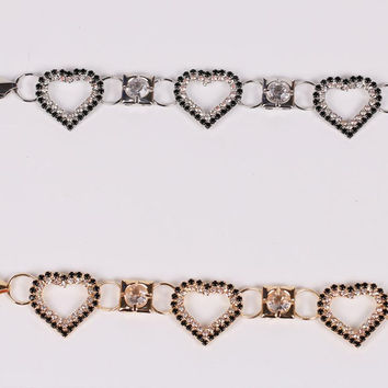 Rhinestone Heart Chain Belt