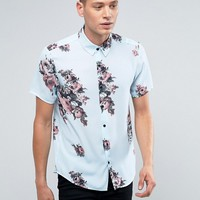 Reclaimed Vintage Inspired Shirt In Floral Print With Short Sleeves In Reg Fit at asos.com