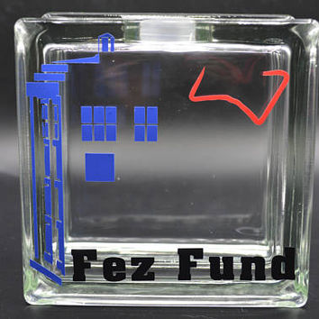 Dr. Who-vian Themed Glass Block Piggy Bank Vinyl Decal Savings Jar 11th Doctor