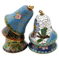 5 Cloisonne Bell Collection Vintage Blue Green Enamel Chinese