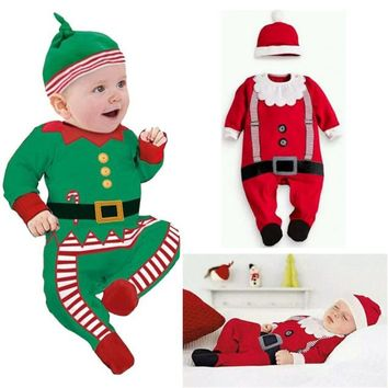 New Christmas clothes baby rompers Boy Girl Kids Romper Hat Cap Set santa claus baby costume Christmas Gift newborn best love