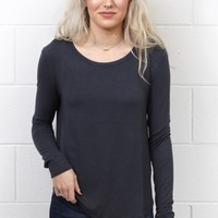 Long Sleeve Soft Rounded Hem Basic {Charcoal}