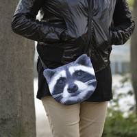 Raccoon cross body, raccoon shoulder bag, raccoon bag, raccoon clutch, novelty , pouch, purse, raccoon lovers , raccoon portrait ,  SB-244