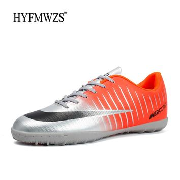 HYFMWZS 2018 Men Sport Shoes High Quality Mens TF Soccer Shoes Superfly Antiskid Boys Soccer Shoes Cheap Football Shoes 3.5-9