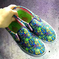 VANS Trending Casual Sports Sneakers Shoes colorful print H-CSXY