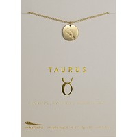 Lucky Feather Taurus Zodiac Sign Constellation Necklace