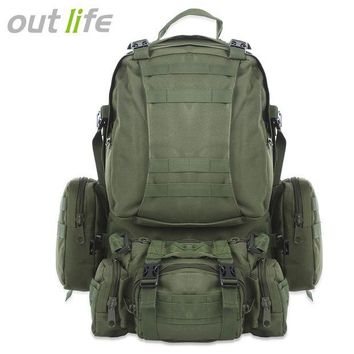 ONETOW 50L Outdoor Backpack Multifunction Sports Sport Bag Molle Tactical Bag Water Resistant Military Rucksack For Climbing Camping