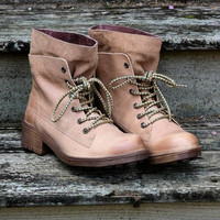 Free Ride Beige Lace Up Ankle Boot With Wraparound Tongue Guard
