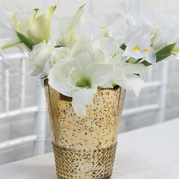 "Mercury Glass Array Floral Vase in Light Gold - 7.5"" Tall x 6"" Wide"