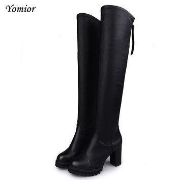Yomior Western Style Suede Slim Boots Over The Knee High Women Snow Boots Women's Fash