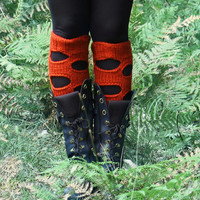 Knitted Boot Socks, Over the Knee, Lounge Socks, Women's Legwear, Perforated boho socks, punk leg warmers, Boot Cuffs, orange Leg Warmers
