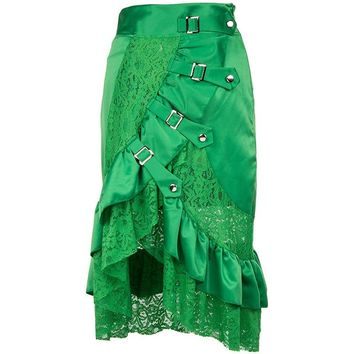 Vintage Plus Size 2XL Satin&Lace Punk Gothic Maxi Skirt Black Green Sexy Costumes Steampunk Skirts For Women Matching Corset