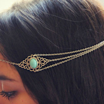 silver turquoise head chain, chain headband, turquoise headband, metal headband, unique headband