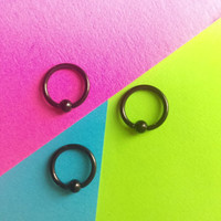 "Black 16g small 5/16"" hoop captive bead ring body jewelry ear eyebrow rook nose smiley helix lip nipple"
