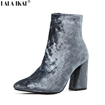 Women Boots Velvet Pointed Toe Ankle Boots for Women High Heels Fashion Slip-On Spring And Autumn Boots