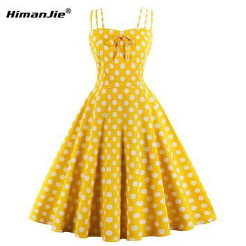 Women Polka Dot Swing Cotton Dresses