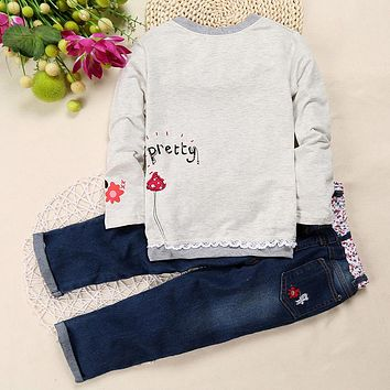 New Arrival Toddler Cute Baby Girl 2 pcs Children Sets Long Sleeve Tops Jeans  Spring Summer Outfits