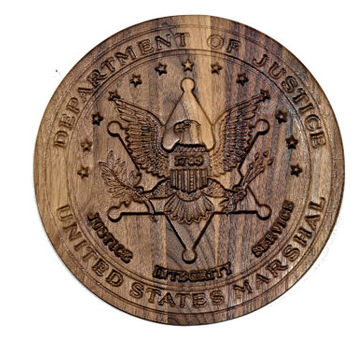U.S. Marshal Plaque - 3D Wood Plaque - Carved Wood Sign