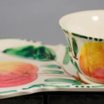 Vintage Italian Art Pottery Hand Painted Cup And Snack Saucer