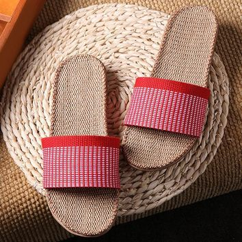 New Linen Slippers Couples Unisex Bedroom Indoor Shoes Anti-skid slippers