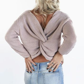 Break The Ice Light Pink Twist Back Sweater