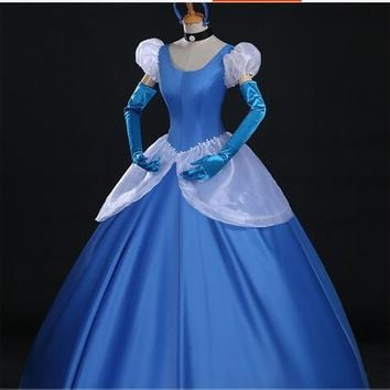 Cinderella Princess cosplay costume blue cinderella girl wedding dress adult Custom made party halloween role-playing carnival