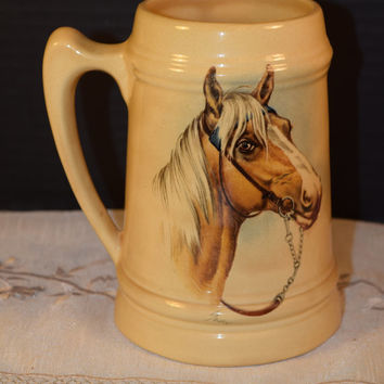Horse Stein Vintage Horse Large Equestrian Tankard Horse Riding Mug Horse Lovers Gift Mid Century Man Cave Decor Western Kitchen Mug