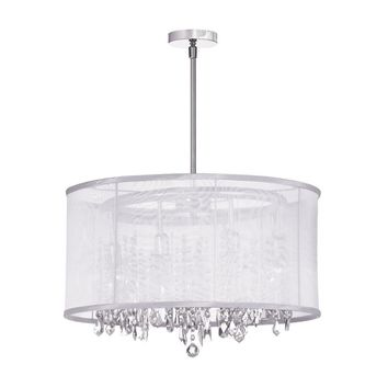 Dianolite Decorative 8 Light Crystal Chandelier, Polished Chrome, White Organza Drum Shade