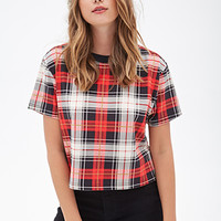 FOREVER 21 Tartan Plaid Boxy Tee Black/Red