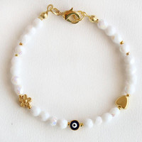 Evil eye bracelet white czech crystals and gold plated heart flower gift for her best friend birthday white bracelet winter christmas