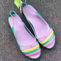 Crocs Fashion stripe splicing flat shoes Casual women sandals shoes G-G-JGYF