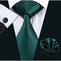✨ Coordinated Men's Silk Tie Set - Solid Green 👔
