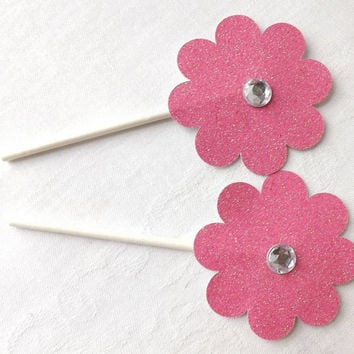 12 Pink Glitter Flower Cupcake Toppers with Rhinestone, Bling Pink Birthday Party, Bridal Shower, Wedding Food Picks