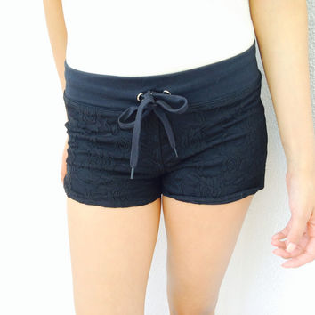 Black laced floral Sweat Shorts