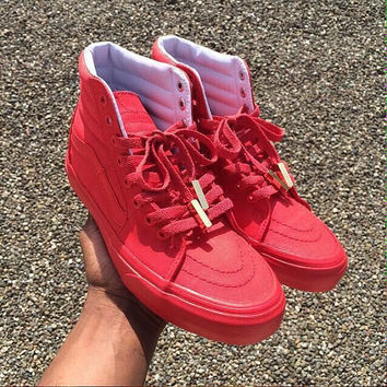 "Custom ""yeezus"" vans solid color with gold yeezy angels any size and any color"