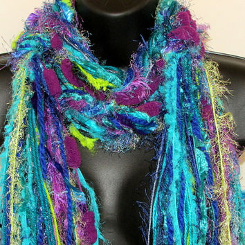"""Knotted Scarf All Fringe Scarves Womens Scarf - """"Peacock Feathers""""- aqua, royal blue, turquoise,lime - fiber art scarf"""