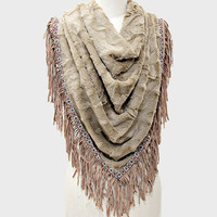 New Now Trending Vintage Boho Drape Fringe Fur Scarf Natural