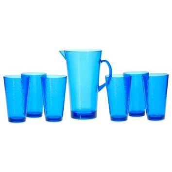 Certified International Hammered Acrylic 7-Piece Drinkware Set with Pitcher in Cobalt Blue
