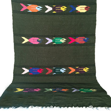 Vintage Southwestern Blanket / Rug / Army Green / Woven Wool Reversible Mexican Textile / Fun Multicolor Fish Print / Statement Decor