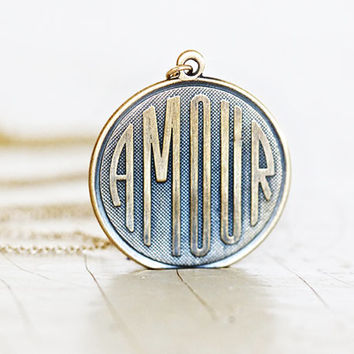 AMOUR Love Necklace - Gold Filled Chain - Boho Chic - Inspirational Jewelry - Gift for Her