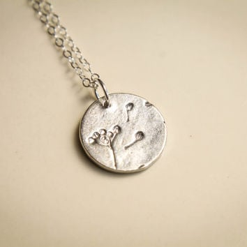Blowing Dandelion Necklace, Available in Sterling Silver and Vermeil and Gold-filled