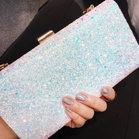 Fashion Lady Shinning Glitter Women's Clutch Sequins Star Evening Pouch Shoulder Handbag Messenger Flap Party bags Purse BA149
