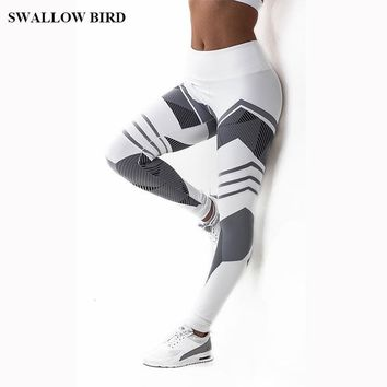 3D Print High Waist Workout leggings- White/Grey