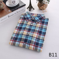 For Her: Easy Colors Medium - 5XL Plaid Flannel Long Sleeve Shirt
