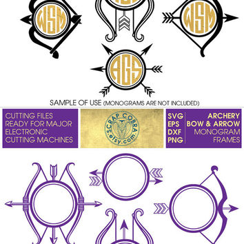 Archery Bow & Arrow Monogram Frames - SVG, eps, dxf, PNG - Cut Files for Silhouette, Cricuit, SCAL, etc. electronic cutting machines cv-373