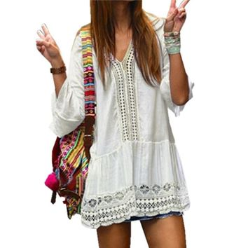 Women 3/4 Flare Sleeve Short Mini Dress Sundress 2017 Women Crochet Hollow Out Sexy V Neck Summer Boho Beach Dress Vestidos