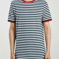 Blue Slim Fit Stripe T-Shirt