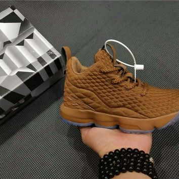 Kids Nike LeBron XV Sneaker Shoes - Brown