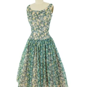 60s Green Watercolor Floral Chiffon Party Dress-S