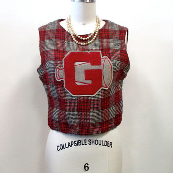1960s University of G Red and Grey Plaid Cheerleading Uniform Wool Crop Top with Megaphone XS/S